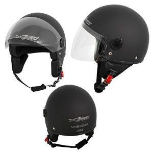 Quanto Costa casco jet demi scooter moto omologato ece 22 visiera antigraffio nero opaco m