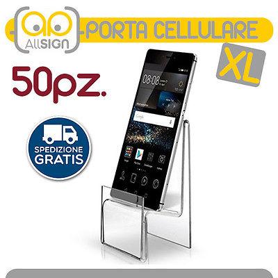 50 ESPOSITORI PORTA CELLULARE PLEXIGLASS SMARTPHONE TELEFONO SEGNA PREZZO BIG